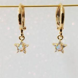 Danity opal charm huggie hoop earrings